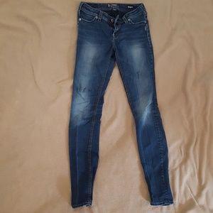 Silver skinny stretch jeans